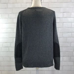 Gray Knit Sweater Studded Leather Elbow Patch EUC